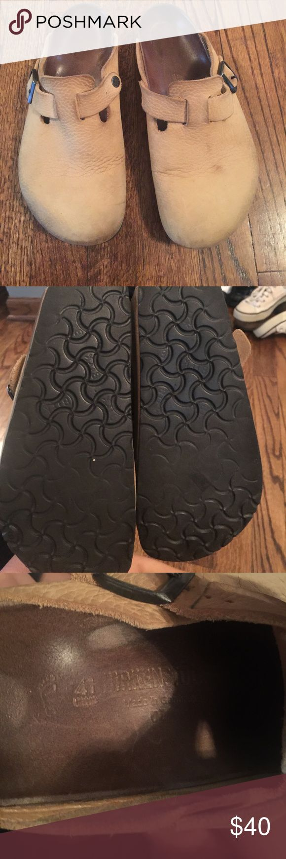 Tan leather upper Birkenstock size 41 These are in good used condition. Size 41. Priced to sell still a lot of wear left in these Birkenstock Shoes Mules & Clogs