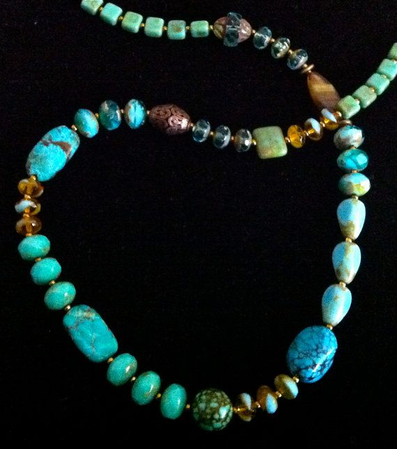 Natural turquoise necklace w/rare & vintage stones