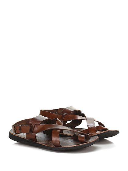 Brador - Sandalo - Uomo - Sandalo in pelle delavè effetto vintage con cinturino su retro e suola in gomma. Tacco 20. - CUOIO - € 95.00