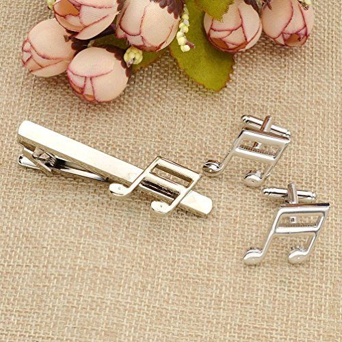 Amazon.com: Musical Note Cufflink Tie Clip Set Silver Plated Copper Cuff links Wedding Gift 1 Set: Jewelry