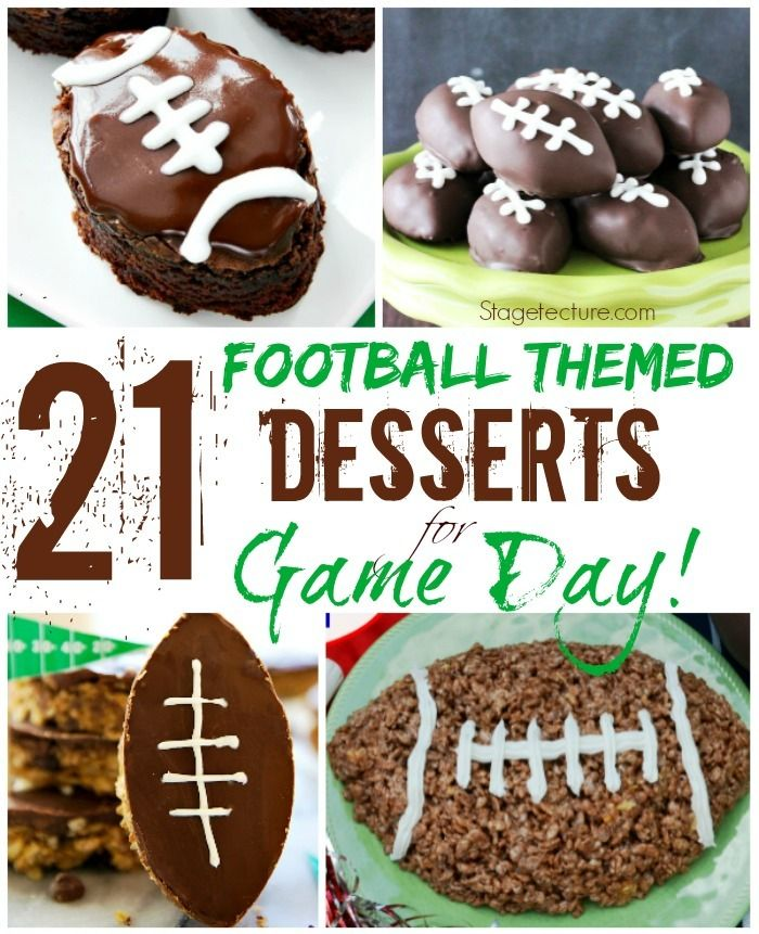 21 of Our Favorite Football Themed Desserts. This game day surprise your guests with football sugar cookies, football brownies, Oreo balls and more! http://stagetecture.com/super-bowl-dessert/ #superbowl #desserts #football