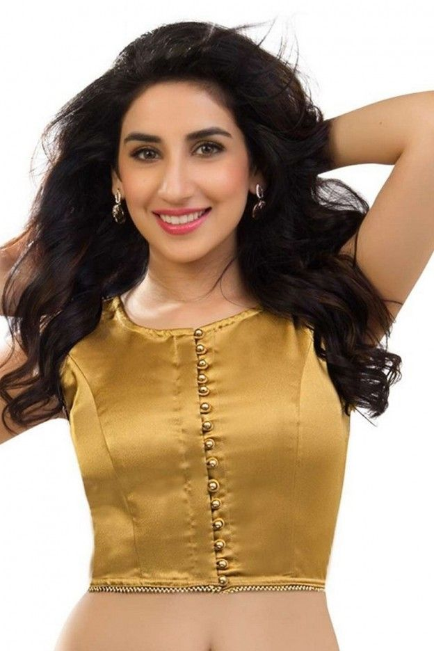Golden satin material readymade blouse online at cheap price. Get the best readymade blouses collection for wedding and party with free shipping charges in India. #blouse, #designerblouse more: http://www.pavitraa.in/store/designer-blouse/