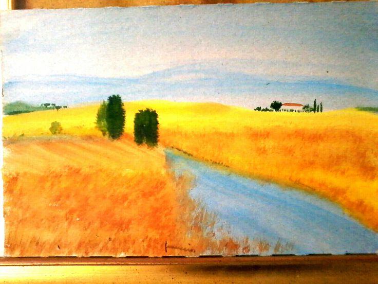 Toscana assolata. Acquarello su cartoncino.