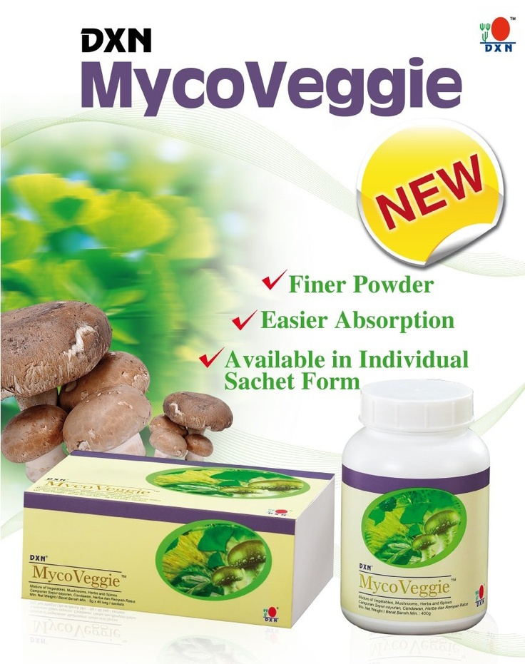 DXN MycoVeggie is a high fiber food supplement carefully prepared from the finest all-natural ingredients including vegetables, various mushrooms, spirulina, green tea, mulberry leaf, ginkgo leaf, noni leaf, fruits, herbs and a selection of spices. It is low in fat, sugar-free, cholesterol-free and high in both soluble and insoluble fiber, vitamin C, calcium and iron.It may also be used as a substitute for meals as part of a weight control program, which keeps your digestive system healthy.