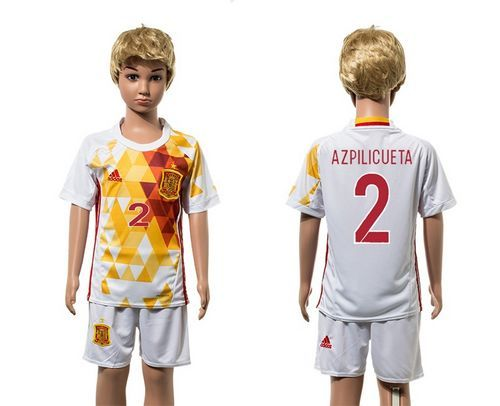 Spain #2 Azpilicueta White Away Kid Soccer Country Jersey wholesale Jerseys Baltimore Ravens Store