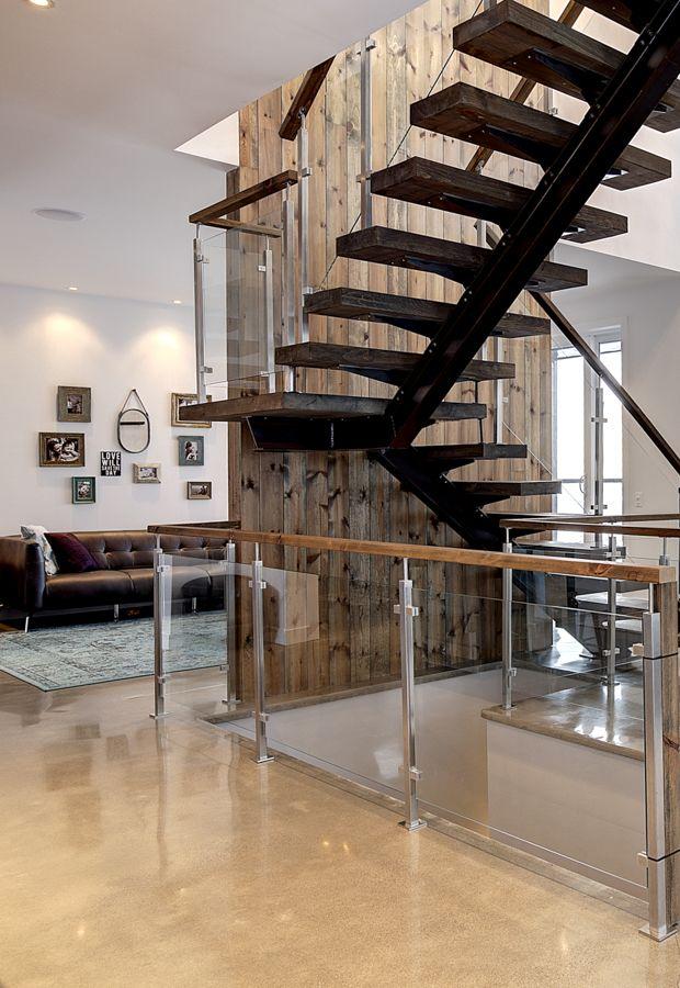 Escalier Acier Style Industriel Garde-corps Inox & Verre