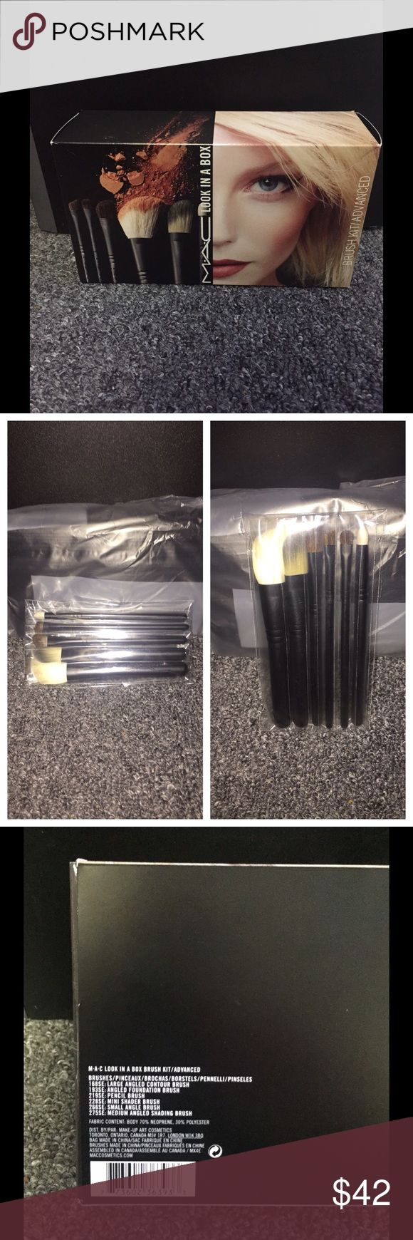 MAC Look in a Box Brush Kit Advanced Contour Eyes Brand NEW & SEALED in box!!! Only opened box to take pics; did not remove from plastic. No flaws or defects. 100% Authentic! Kit includes 6 travel size make-up brushes and travel pouch case. *Last pic shows exactly what you will receive.* MAC Cosmetics Makeup Brushes & Tools