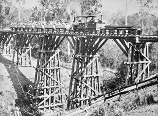 Railway workers crossing Chinamans Creek Bridge, c 1900  Queensland State Archives Item ID 1140008, Digital Image ID 2967