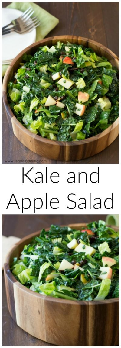 Quick and Easy Kale and Apple Salad. How to make kale salad. Kale massage. Easy healthy salad recipe. Whole 30. Paleo. Gluten free. Recipe at http://www.fearlessdining.com