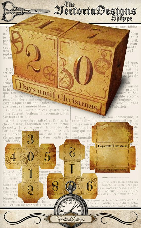 Printable Christmas countdown blocks________________________ Steampunk Christmas