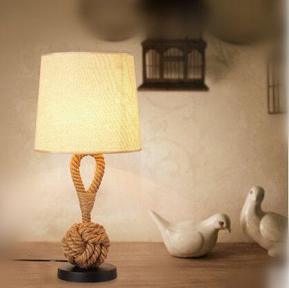 Nordic American LED Настольная Лампа Ткань Конопли Веревки, Современный Стол лампы Для Кабинета Кафе Бар Главная Светильники Luminaria Де Mesa купить на AliExpress