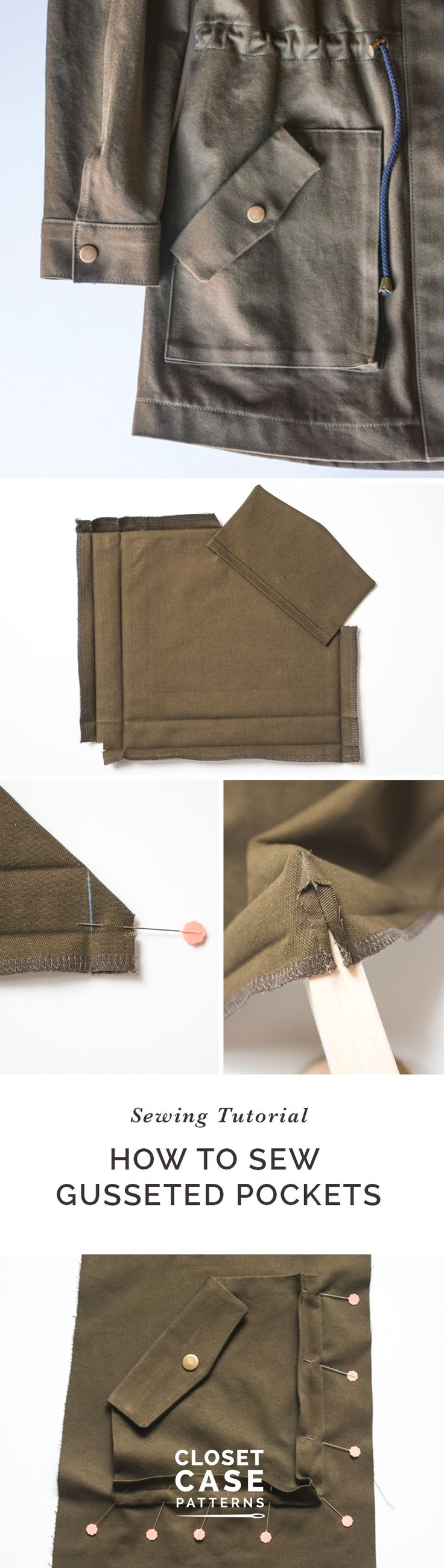 A tutorial for sewing gusseted pockets from Closet Case Patterns https://closetcasepatterns.com/sewalong/sewing-gusseted-pockets-kelly-anorak-sewalong/
