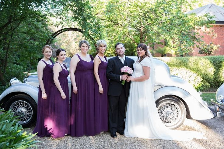 Bridesmaids Dress looking great in front of the Mark IV Jaguar @ Chateau Dore Winery