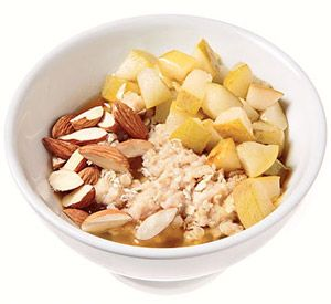 Easy, Healthy breakfast under 300 calories : Honey & Pear Oatmeal with Almonds -  1 medium pear, diced  2 teaspoons honey  1 packet instant plain oatmeal  1 tablespoon almonds, chopped  - Make it: Microwave pear and honey until warm (about 3 minutes). Prepare oatmeal with hot water and top with pear and honey. Sprinkle with almonds.