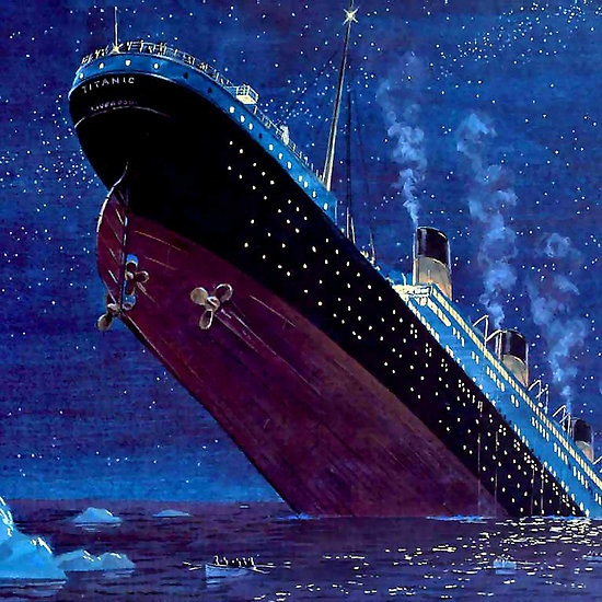 Apr.15, 1912. Less than 3 hours after hitting an iceberg in the North Atlantic off Newfoundland, the RMS Titanic sinks killing over 1500.