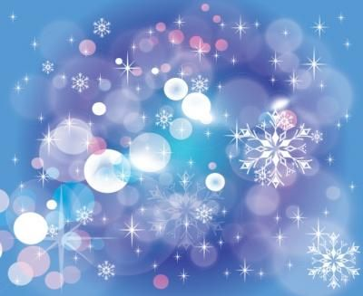 Blue background with stars and winter graphics.