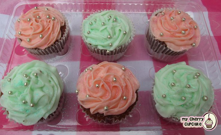 mint and coral Cupcakes! ♥