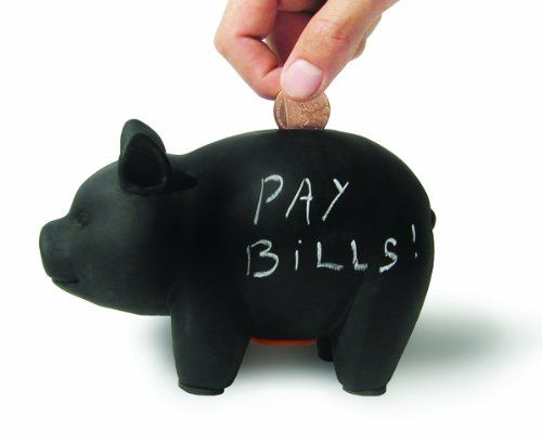A piggy bank with a difference. It's a chalkboard (or blackboard for those of us old enough to remember them!) that you can write or draw on yourself.