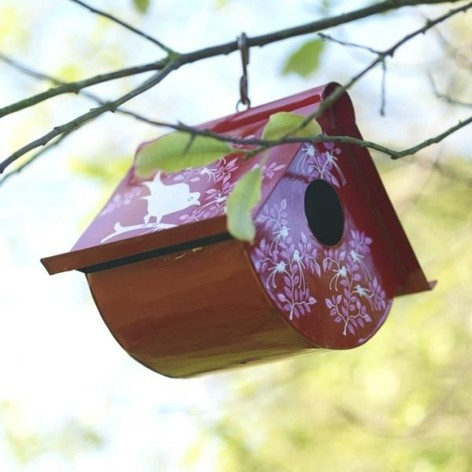 So cosy...Eva hand painted bird house, red