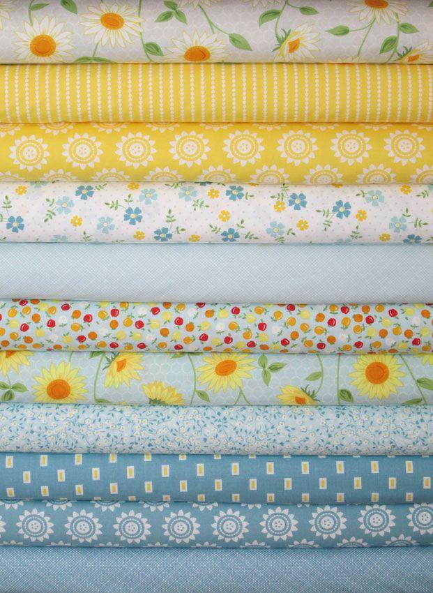 Windham Fabrics, Oh Clementine, Aqua/Grey in FAT QUARTERS 11 Total