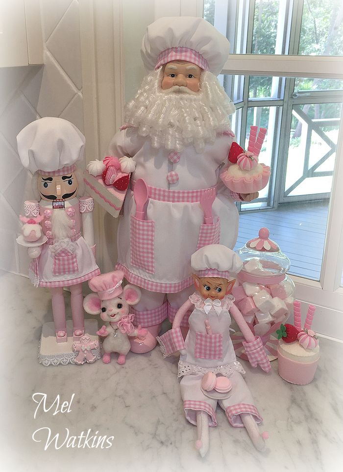 Pink Christmas shabby chic Pink Chef Santa elf and Nutcracker