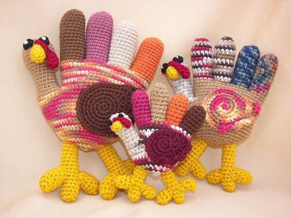 Hand Turkey Trio by CraftyDebDesign | Crocheting Pattern - Looking for your next project? You're going to love Hand Turkey Trio by designer CraftyDebDesign. - via @Craftsy