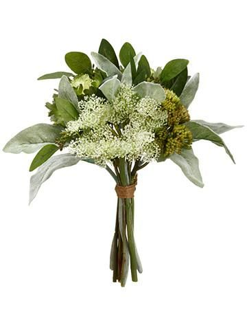 Save money on your wedding flower budget and choose hassle-free with Afloral.com. Faux bouquets of green cabbage, sedum, and lamb's ear are elegant and simple.