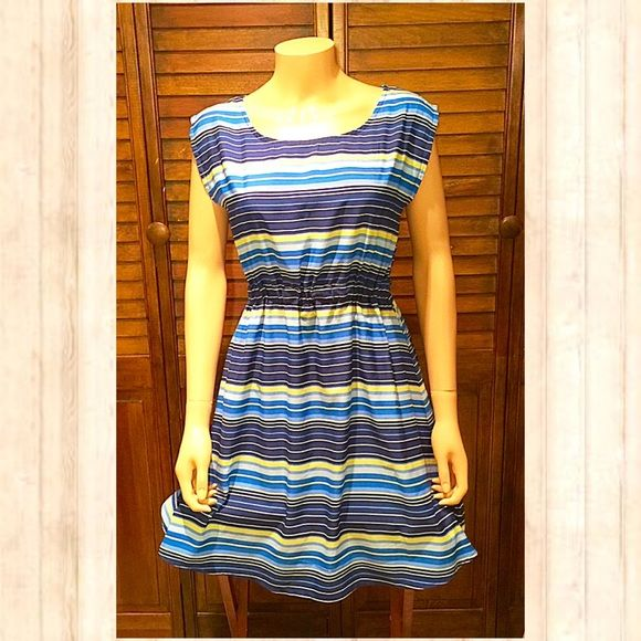 Stripe solid dress yellow blue medium heels