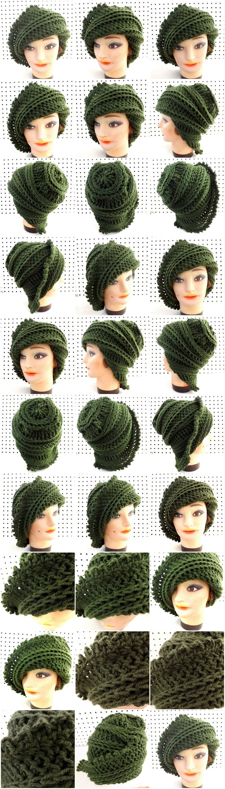 Unique Crochet LISA Beanie Hat in Olive Green
