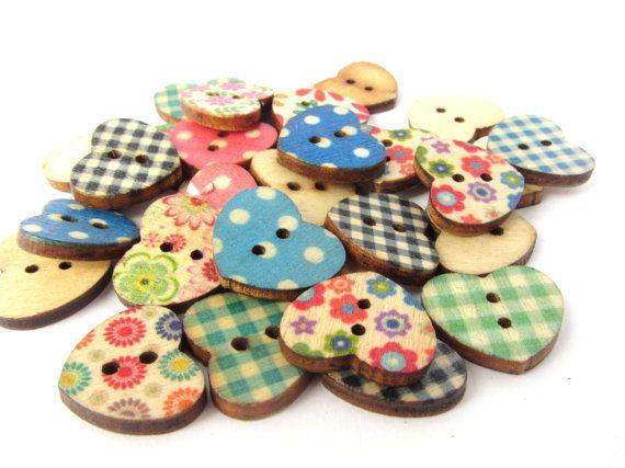 Wooden Heart Buttons / Flower Heart Buttons by PoppyCraftSupplies