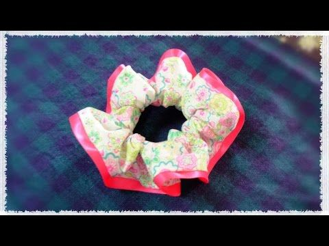 縫う布シュシュの作り方レシピ☆ピンクをチラっと見せ♪ diy pink scrunchie tutorial - YouTube