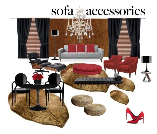 sofa by dianamonda on Polyvore featuring interior, interiors, interior design, home, home decor, interior decorating, Charles and Ray Eames, Zuo, Kathy Ireland and Flos