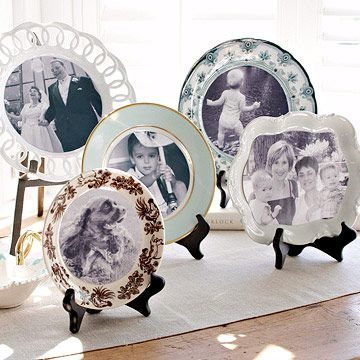 Photo Plate Display, vintage feel to honor those who are attending your wedding from heaven.: