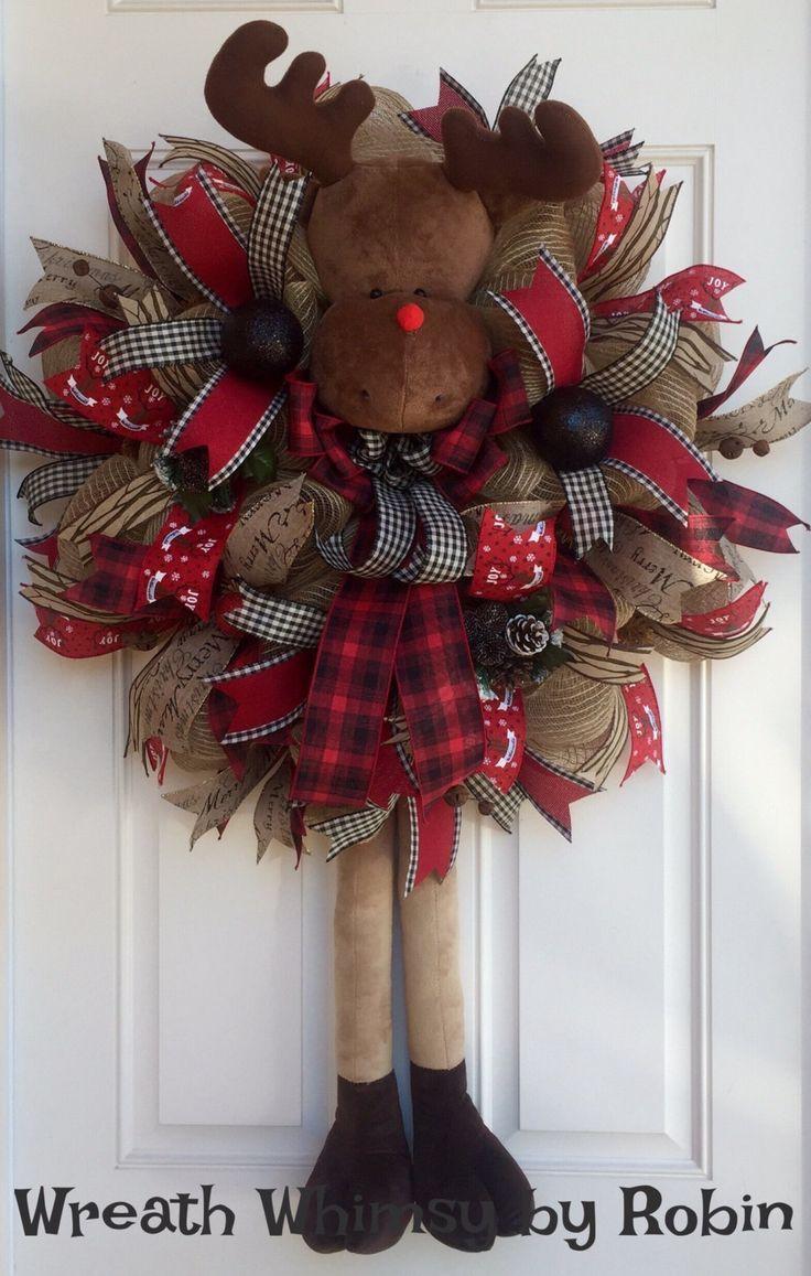 HUGE Holiday Jute Mesh Reindeer Wreath, Christmas Wreath, Winter Wreath,Deco Mesh Christmas Wreath, Rudolph Wreath, Rustic Christmas Wreath by WreathWhimsybyRobin on Etsy