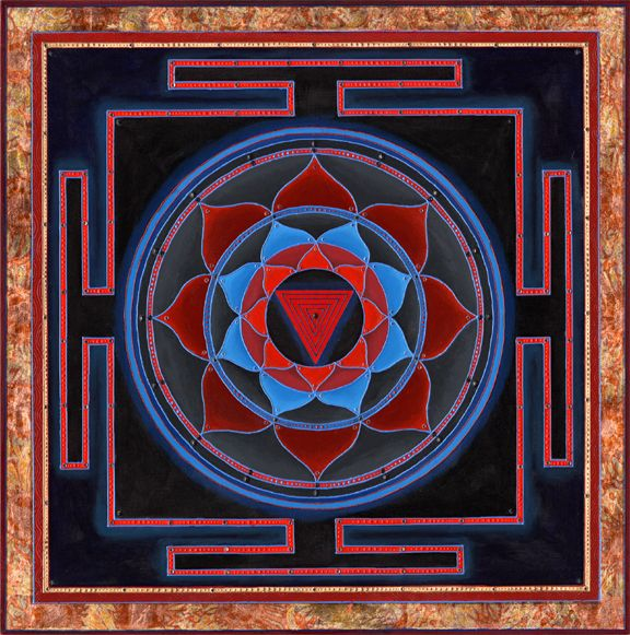 """Kali Yantra by Paul Heussenstaumm:  """"Created as a deminstration in one of my workshops, I returned to the classic form of Kali   (five red down-facing triangles) in her fundamental, intrinsic form of a Yantra used for meditation."""""""