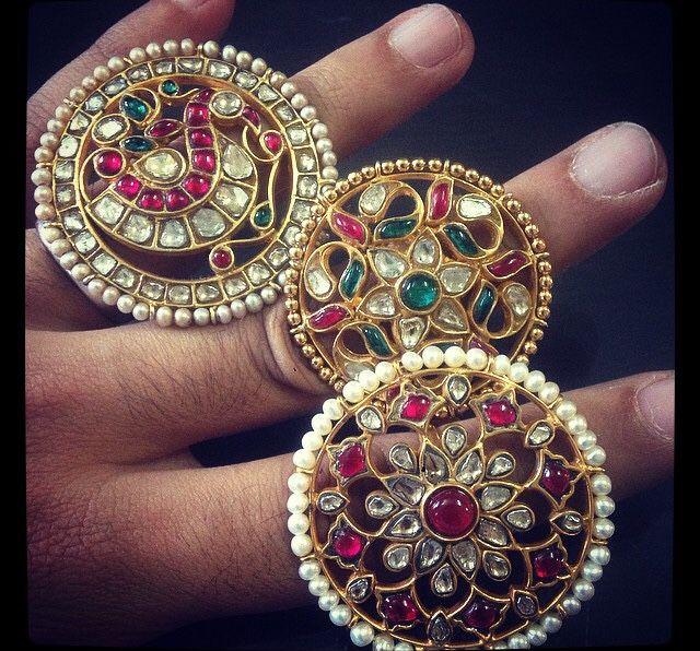 Kundan jadau diamond rings
