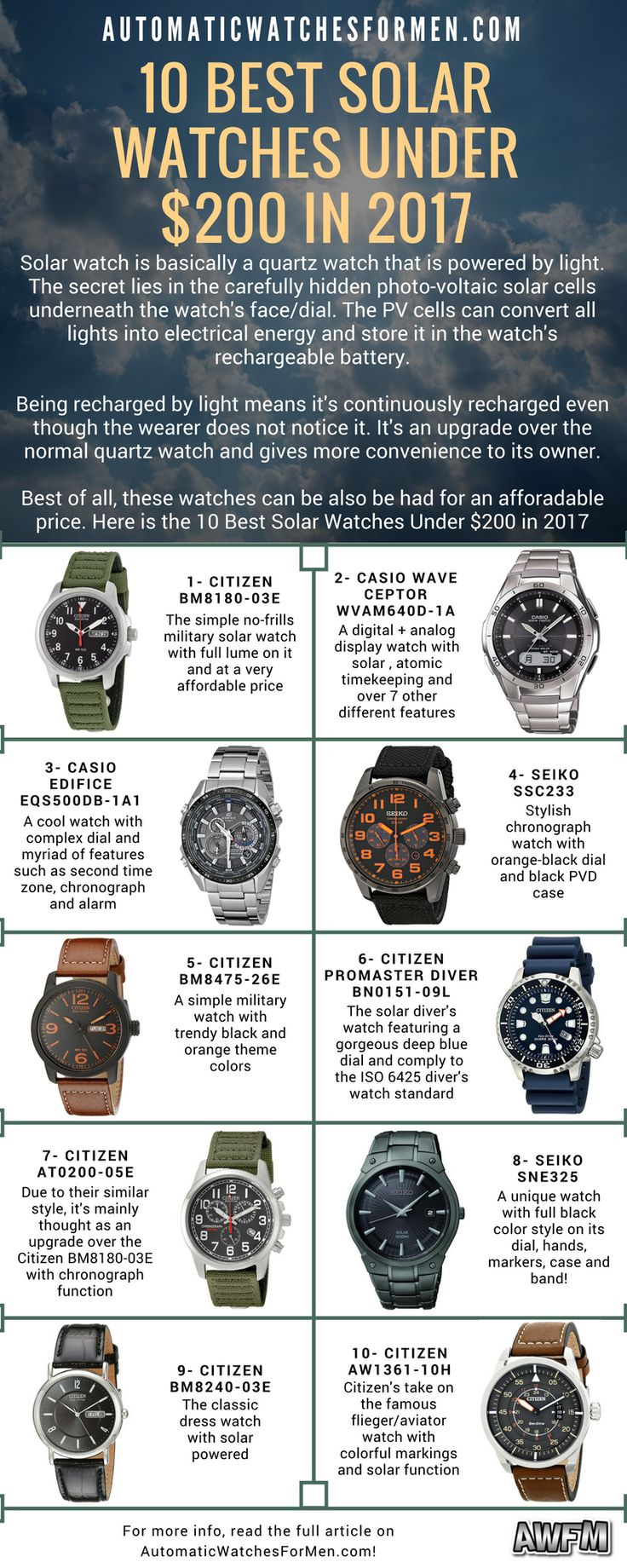 Hi guys! I'm sure you guys must have known about solar watches right? - the very convenient watch that can recharge itself from being exposed to lights.   Here is the list that I've compiled on the 10 Best Solar Watches Under $200 in 2017. Let me know what you guys think about it =) >>>  https://automaticwatchesformen.com/10-best-solar-watches-under-200-in-2017