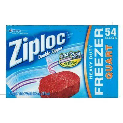 Ziploc Heavy Duty Freezer Quart 54 Bags 17.7cm x 19.5cm