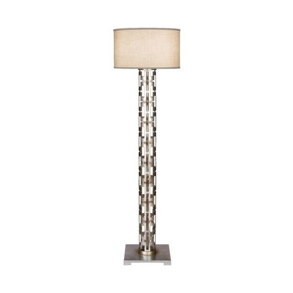 Fine Art Lamps 817020ST Allegretto Silver Single-Light Floor Lamp with ($2,321) ❤ liked on Polyvore featuring home, lighting, floor lamps, lamps, silver leaf, wall-mounted lamps, silver floor lamp, linen shade, silver shade and fine art lamps