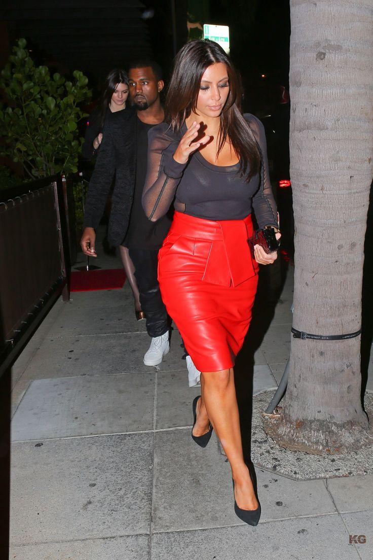 Kim Kardashian: red leather pencil skirt & sheer black top