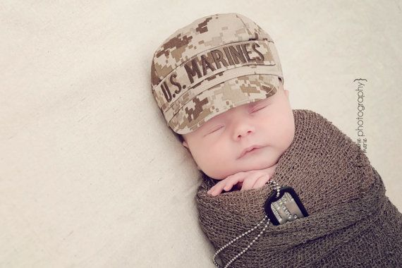 USMC MARINE Infant Military Caps Marine Baby by KaseyCreations $20 (can be ordered with a name, branch, or none)