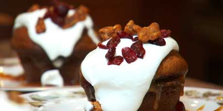 Warm Pumpkin Sticky Toffee Pudding with Vanilla Whipped Cream (Chef Lynn Crawford)