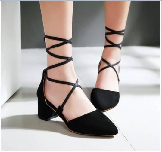 Roman Marry Jane Women'S Block Heels Pointy Toe Lace Up Suede Spring Shoes 2016