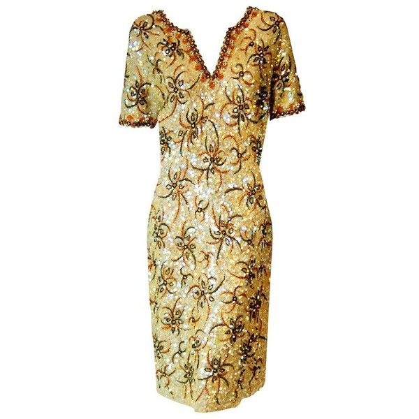 Preowned 1950's Gene Shelly Golden-yellow Sequin Beaded Knit Abstract... (190 KWD) ❤ liked on Polyvore featuring dresses, beige, cocktail dresses, sequin cocktail dresses, yellow cocktail dress, art deco dresses, yellow vintage dress and sequined dresses