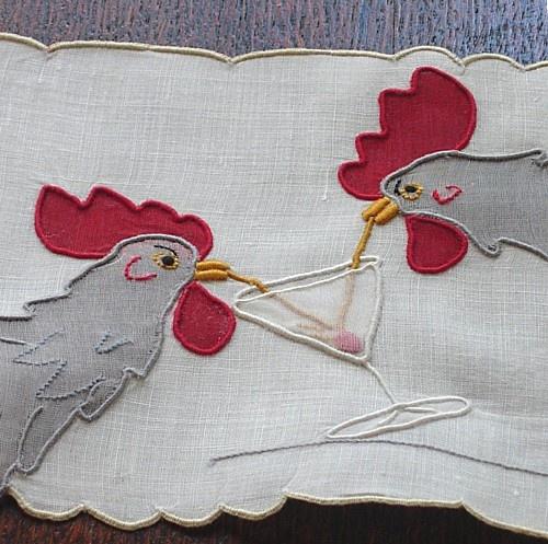 Vintage Madeira Embroidered Linen Cocktail Napkins