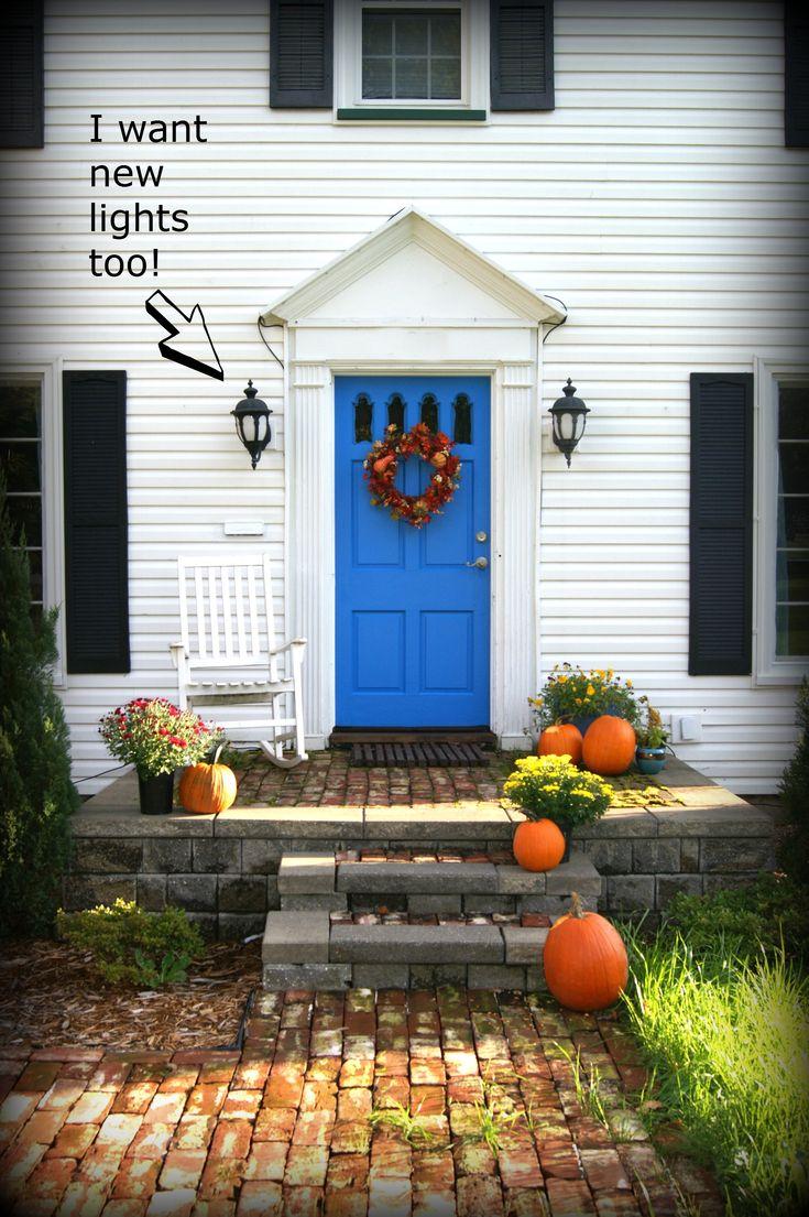 Black front door with black shutters - Knock Knock Front Door Colorsfront Doorsblue Shutterswhite House Blackblue