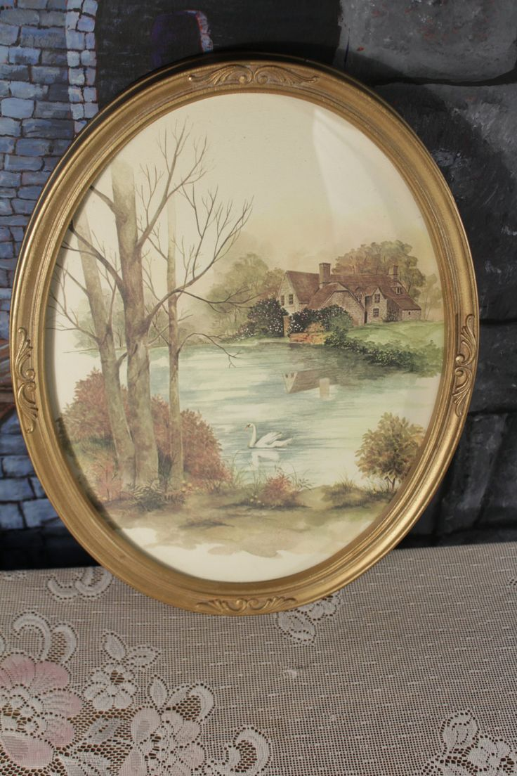 Vintage Swan on the Lake Framed Print Picture Plaque French Shabby Chic Country Scene by sisoftmoonVintage on Etsy