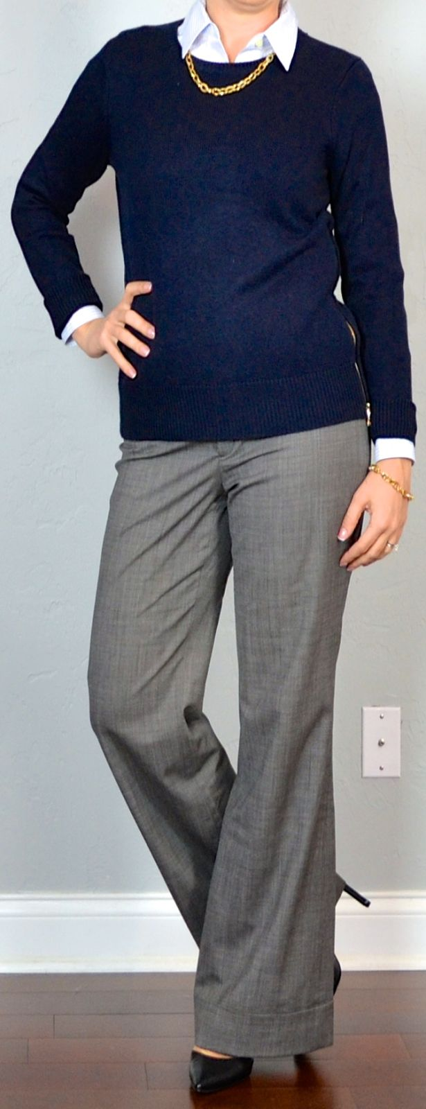 outfits for navy blue pants | outfit post: navy zipper sweater, blue pinstripe button down, grey ...