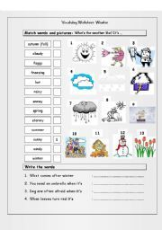 English worksheet: Vocabulary Matching Worksheet - WEATHER