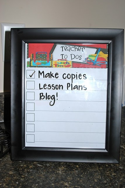 To do list in a frameGuide Reading, Teachers Gift, Gift Ideas, Cute Ideas, A Frames, Classroom Ideas, Pictures Frames, Dry Erase, Classroom Organic